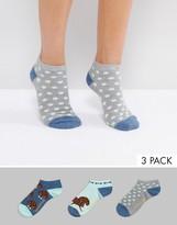 Sock Shop 3 Pack Dauchaund Sneaker Socks