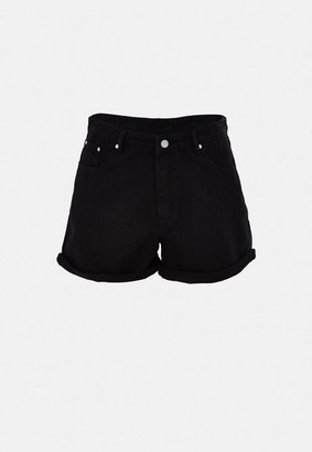 Missguided Size Black Turn Up Denim Mom Shorts