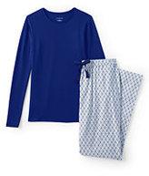Classic Women's Petite Knit Flannel Sleep Set-Ivory Plaid