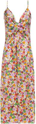 Borgo de Nor Flora Twisted Floral-print Silk-twill Midi Slip Dress