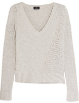 Line Fringed Open-Knit Cotton Sweater