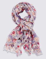 M&S Collection Garden Floral Print Scarf