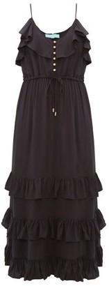Melissa Odabash Bethan Tiered-ruffled Midi Dress - Womens - Black