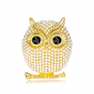 Angelra Owl Brooch Pin for Women Design Animal Pearl Enamel Fashion Jewellery Girl Bride Wife for Weddings (Gold)