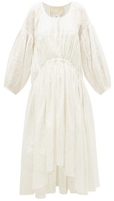 Jaipur Anaak Poet Drawcord-waist Cotton Dress - Womens - White