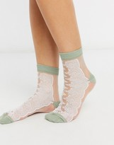 Asos Design DESIGN sheer mesh lace detail sock with green heel and toe
