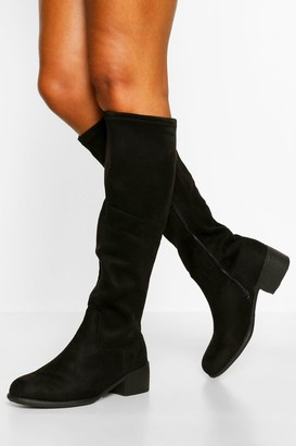 boohoo Wide Fit Flat Knee High Boot