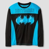 Boys' Batman Long Sleeved Active Wear T-Shirt - Black/ Turquoise