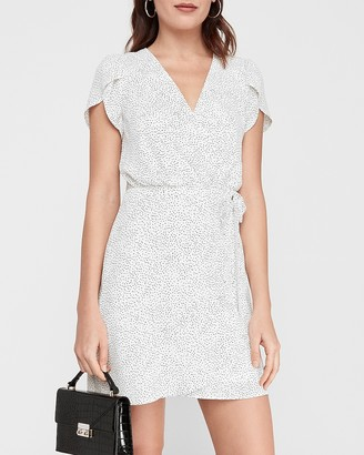 Express Printed Wrap Front Fit And Flare Dress