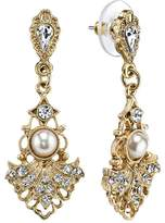 Downton Abbey Openwork Fan Drop Earrings
