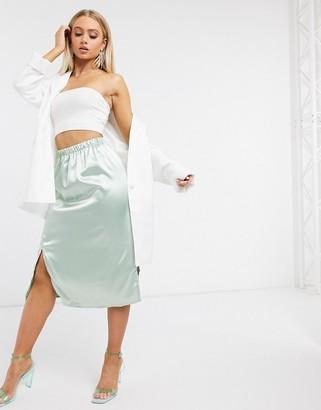 Parisian satin midi skirt with splits in sage
