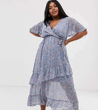 New Look Plus Curve ruffle maxi dress in blue ditsy floral