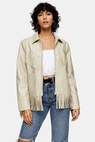 Topshop Womens Ecru Faux Leather Fringe Jacket - Ecru