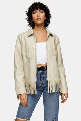 Topshop Ecru Faux Leather Fringe Jacket