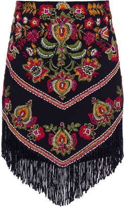 PatBO Embroidered Fringe Mini Skirt