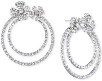 Jenny Packham Silver-Tone Pave Flower Double-Hoop Drop Earrings