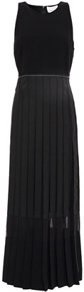 3.1 Phillip Lim Pleated Paneled Georgette And Stretch-crepe Midi Dress