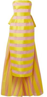Lela Rose Draped Striped Organza And Satin Midi Dress