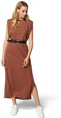 Forever New Zoe Extended Shoulder Column Dress Chestnut