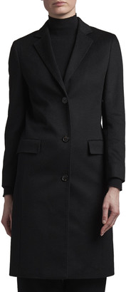 Agnona Cashmere Single-Breasted Slim Coat, Black