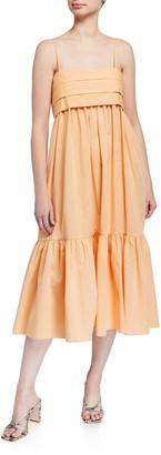 Loup Charmant Iliana Pleated Poplin Tie-Back Dress