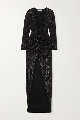 NERVI Ada Sequined Tulle Gown - Black