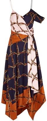 Jonathan Simkhai Printed Draped Satin-twill Midi Dress