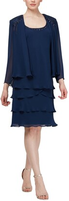 Slny Beaded Shoulder Twofer Dress