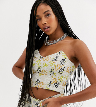 One Above Another crop bandeau crop top in snake print denim two-piece-Cream