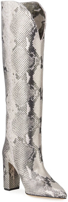 Paris Texas Metallic Python-Print Heeled Knee Boots