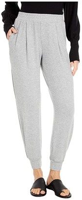 Michael Stars Madison Brushed Jersey Myla Pleated Relaxed Joggers (Heather Grey) Women's Clothing