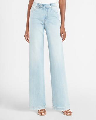 Express Mid Rise Side Button Tab Wide Leg Jeans
