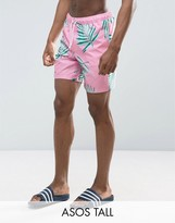 Asos TALL Swim Shorts With Floral Print In Mid Length