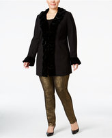 INC International Concepts Plus Size Velvet Ruffled Coat, Only at Macy's