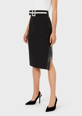 Emporio Armani Crepe-Jersey Midi Skirt With Faux-Leather Insert