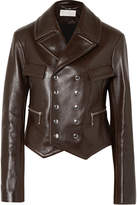 Chloé Double-breasted Leather Biker Jacket - Brown