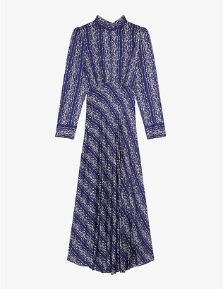 Sandro Angie graphic-print woven maxi dress