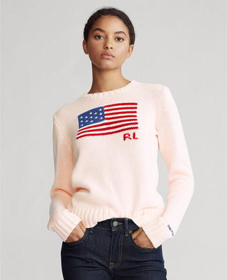 Ralph Lauren Pink Pony Flag Cotton Sweater