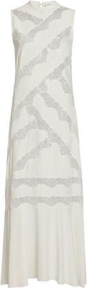 SIR Alma Lace-Paneled Silk Maxi Dress