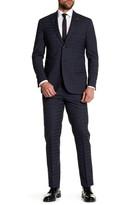 Michael Bastian Blue Striped Two Button Peak Lapel Wool Extra-Trim Fit Suit