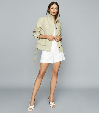 Reiss EDEN Cotton-blend utility jacket Light Green