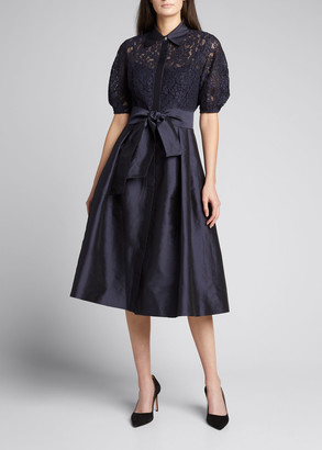 Rickie Freeman For Teri Jon Lace Bodice Elbow Puff-Sleeve Taffeta Shirtdress