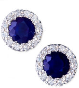 Effy Gemma by Sapphire (7/8 ct. t.w.) and Diamond (1/8 ct. t.w.) Round Button Earrings in 14k White Gold
