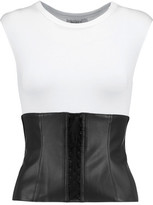Bailey 44 Lace-Up Faux Leather-Trimmed Jersey Top