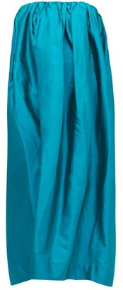 Marques Almeida Marques'almeida - Gathered Silk-taffeta Dress - Womens - Blue