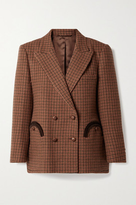 BLAZÉ MILANO Rembrandt Everynight Double-breasted Corduroy-trimmed Checked Wool Blazer - Brown