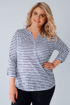 Yours Clothing White & Navy Stripe Burnout Jersey Top With Button Detail
