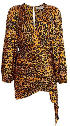 Ronny Kobo Giorgia Leopard Print Puff-Shoulder Faux Wrap Dress