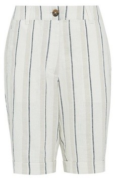 Dorothy Perkins Womens Multi Colour Stripe Print Linen Blend Knee Shorts