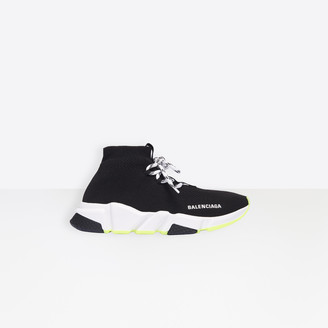 Balenciaga Speed in black knit and decorative lace-up, red, white and black sole unit
